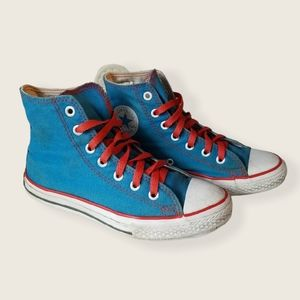 Converse All Star Blue Red High Tops Kids Size 2
